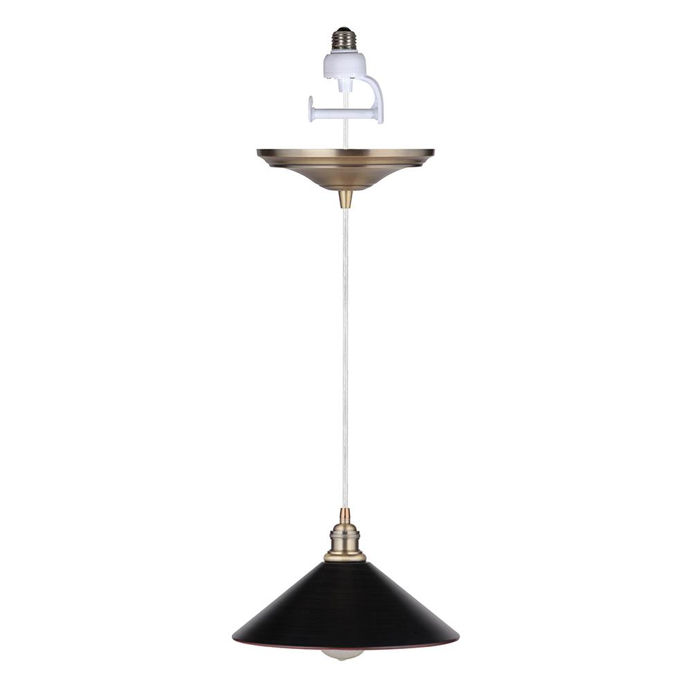 Worth Home Products Worth Home Products Instant Pendant 1-Light Recessed Light Conversion Kit Brushed Brass and Brushed Bronze 11 in. Cone Metal Shade