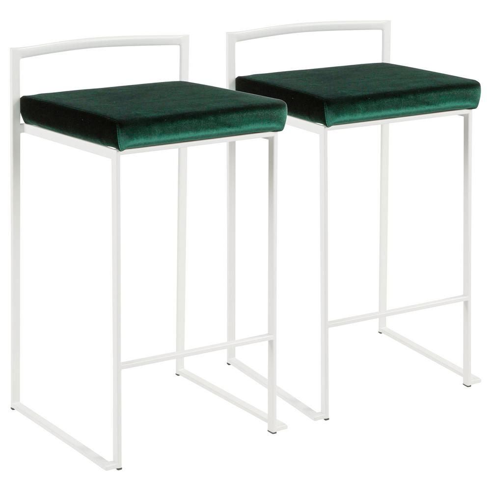 Lumisource Fuji 26 In White Stackable Counter Stool With