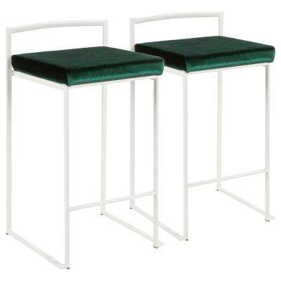 Fuji 26 in. White Stackable Counter Stool with Green Velvet Cushion (Set of 2)