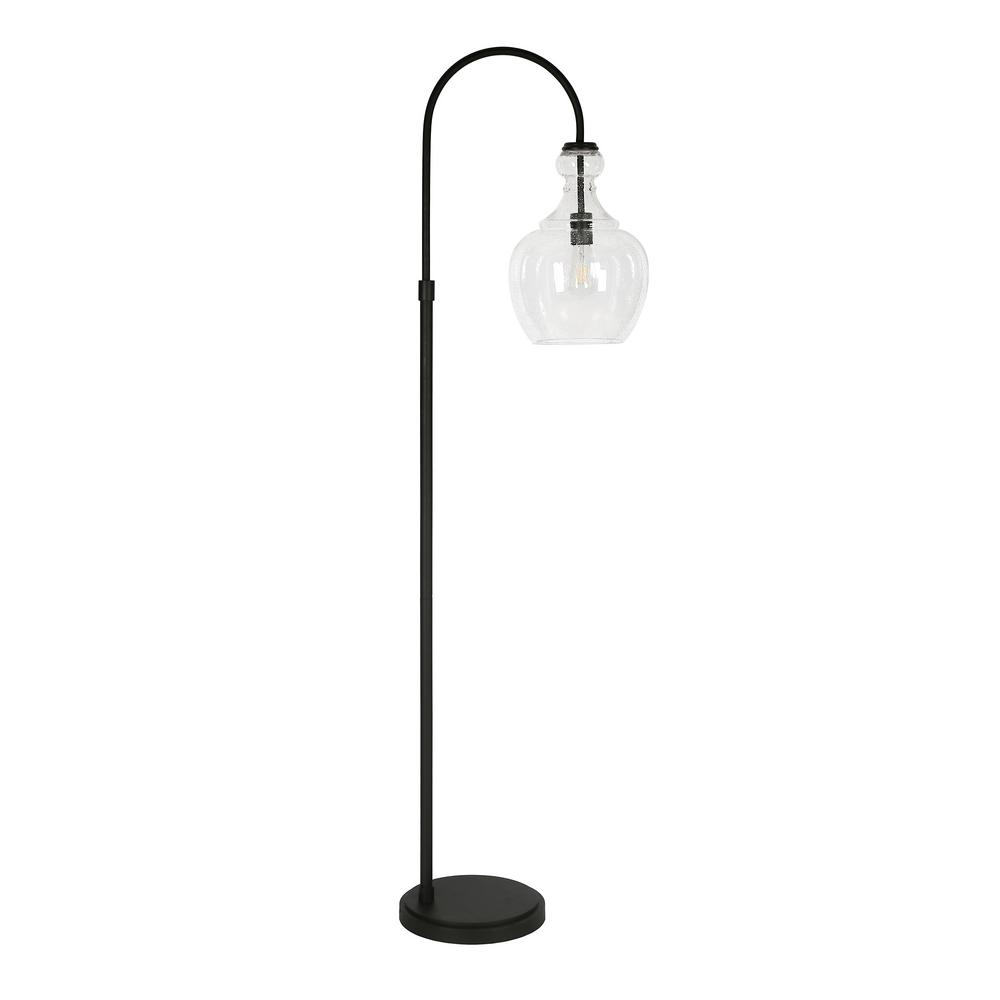 Hudson&Canal Verona 65 in. Arc Blackened Bronze Floor Lamp with Seeded Glass Shade