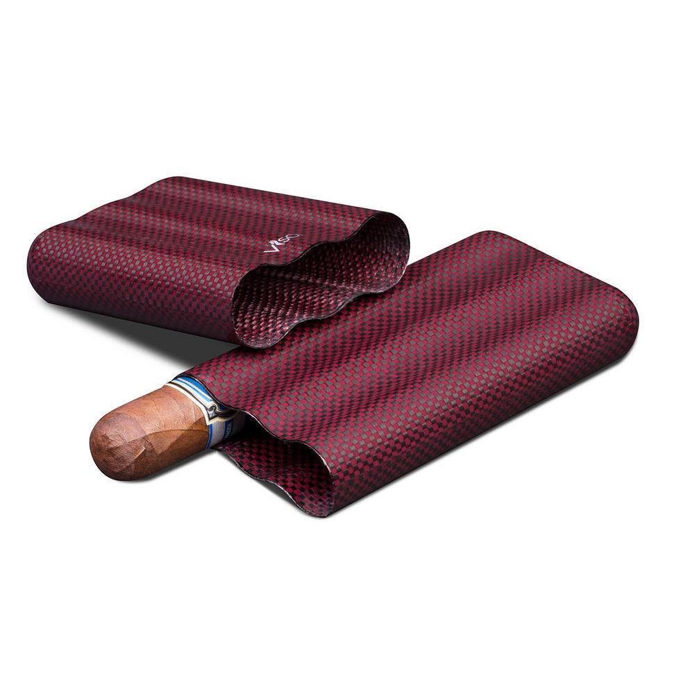 Red Kevlar and Carbon Fiber Cigar Case – 3-Fingers