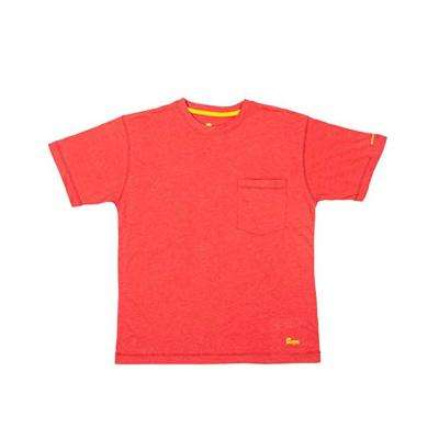 Men's Large Tall Deep Red Cotton and Polyester Light-Weight Performance T-Shirt