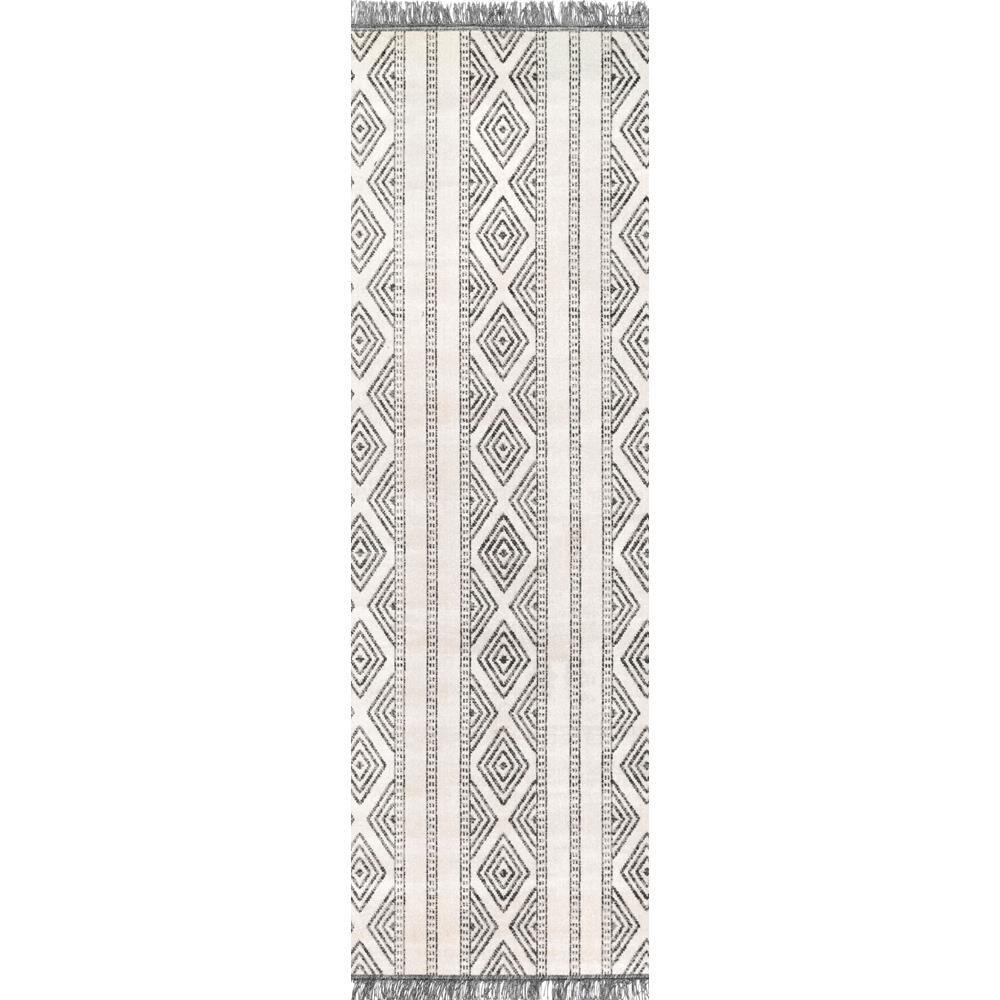 Miriam Striped Tribal Tassel Gray 3 ft. x 8 ft. Indoor/Outdoor Runner Rug