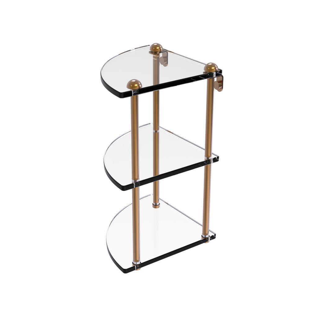 Allied Brass 8 in. Three Tier Corner Glass Shelf in Brushed Bronze ...