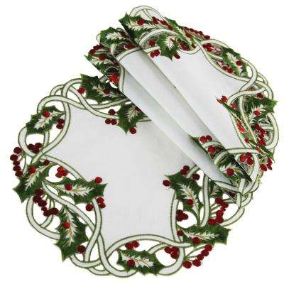16 in. White Holiday Holly Embroidered Cutwork Round Doily (4-Set)