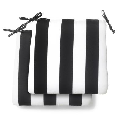 20 in. x 19 in. x 3.5 in. Black Cabana Stripe Square Outdoor Seat Cushion (2 Pack)