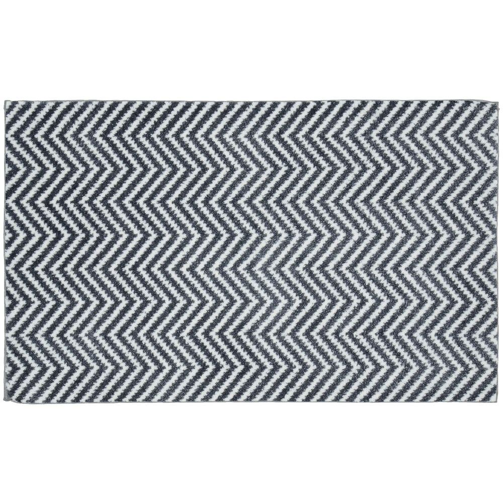 Palazzo II Cinder Gray/White 21 in. x 34 in. Bath Rug
