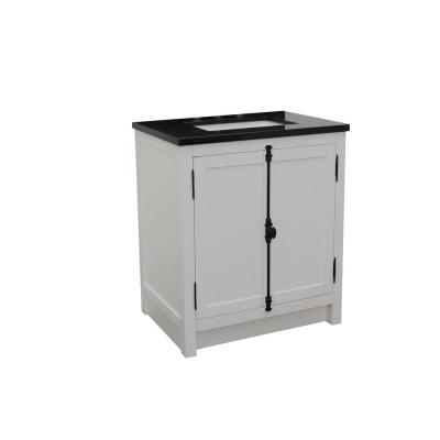 Plantation 31 in. W x 22 in. D Bath Vanity in White with Granite Vanity Top in Black with White Rectangle Basin