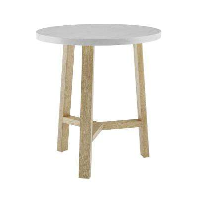 20 in. White Marble and Light Oak Round Side Table