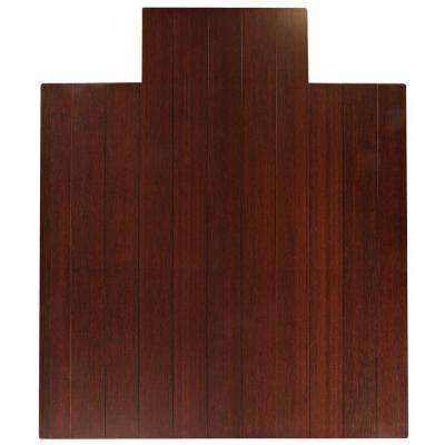 Deluxe Dark Brown Mahogany 44 in. x 52 in. Bamboo Roll-Up Office Chair Mat with Lip