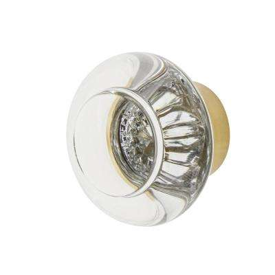 Round Clear Crystal 1-3/8 in. Cabinet Knob in Polished Brass