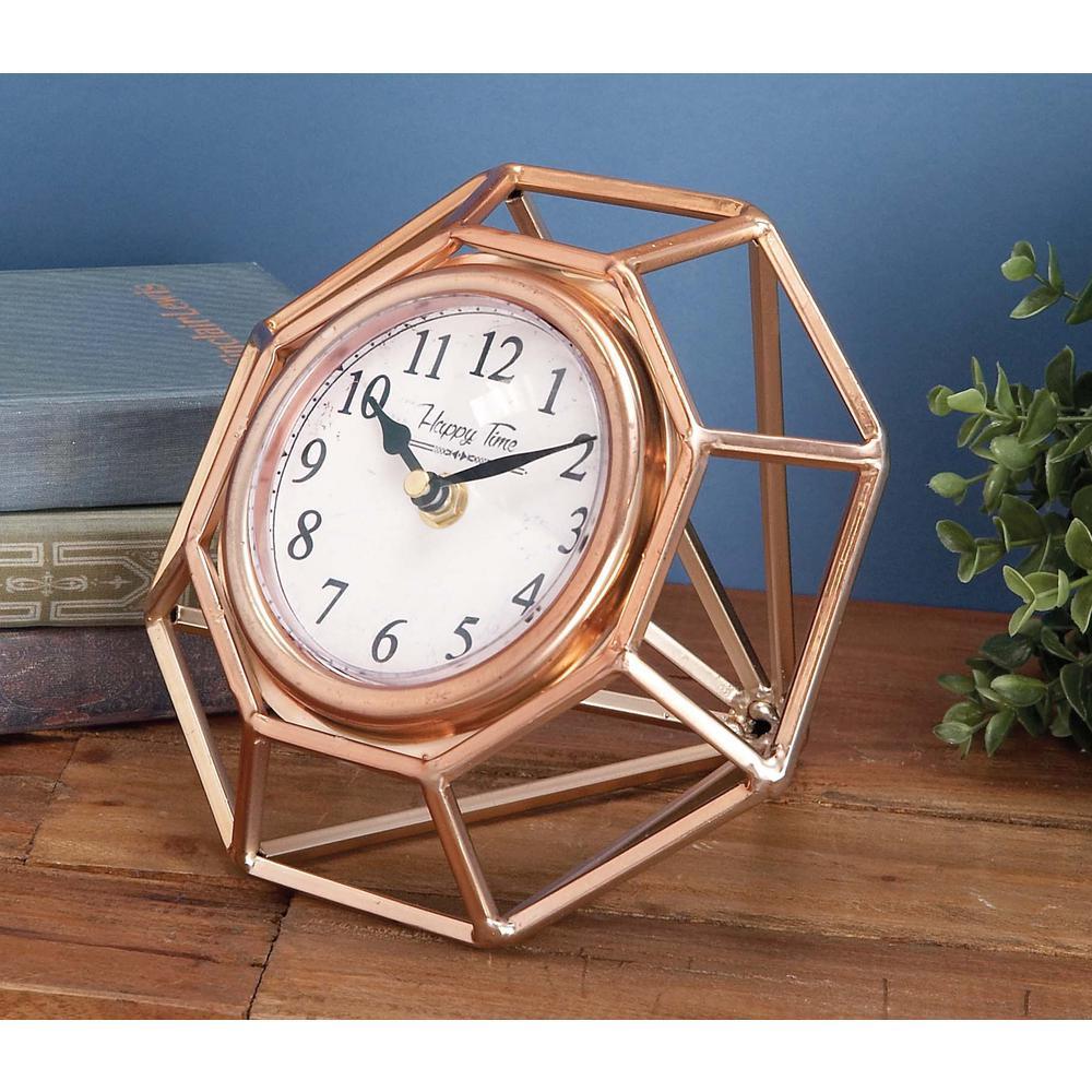 7 in. x 8 in. Iron Copper Table Clock
