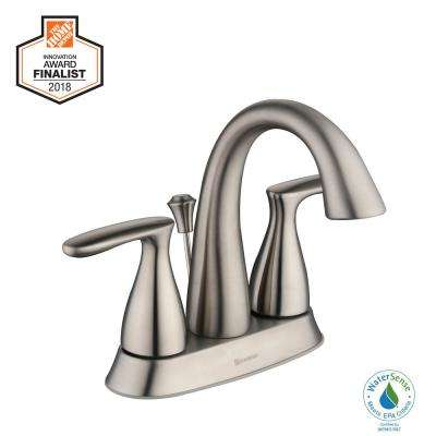 Meansville 4 in. Centerset 2-Handle High-Arc Bathroom Faucet in Brushed Nickel