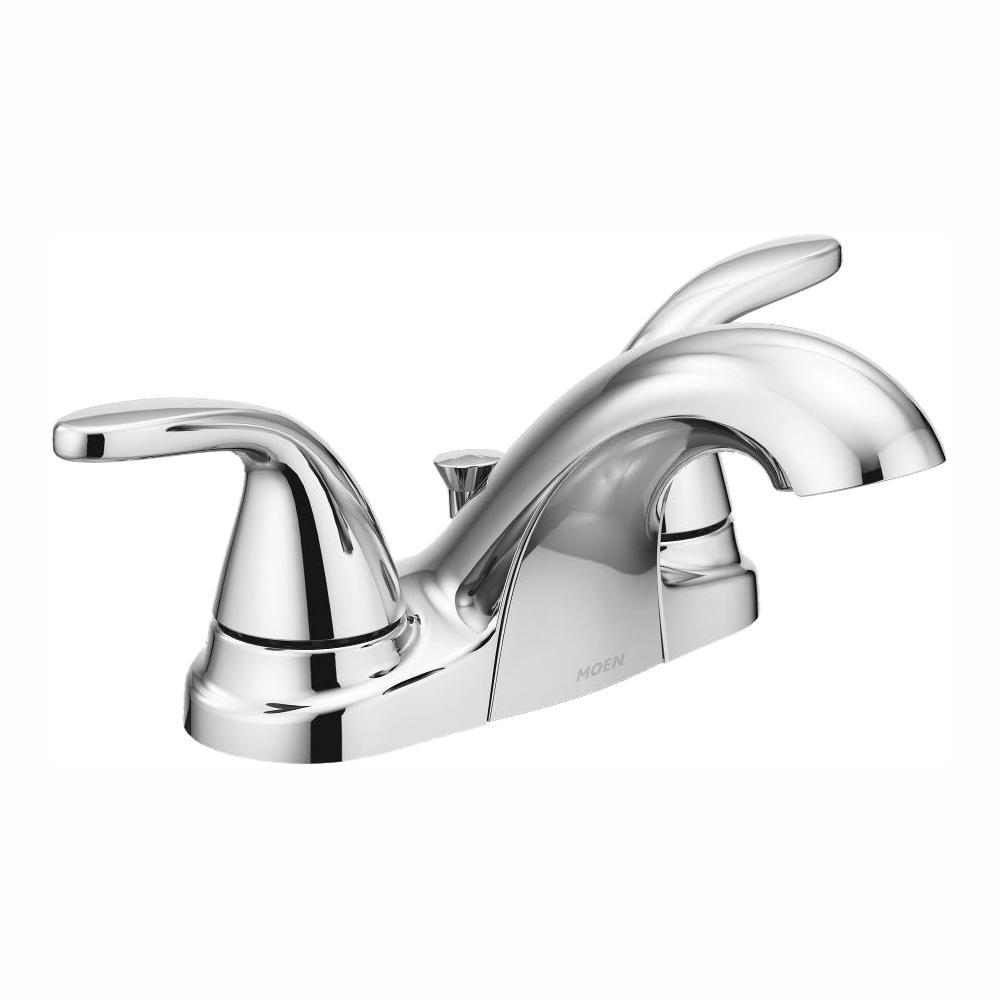 moen adler 4 in. centerset 2-handle bathroom faucet in