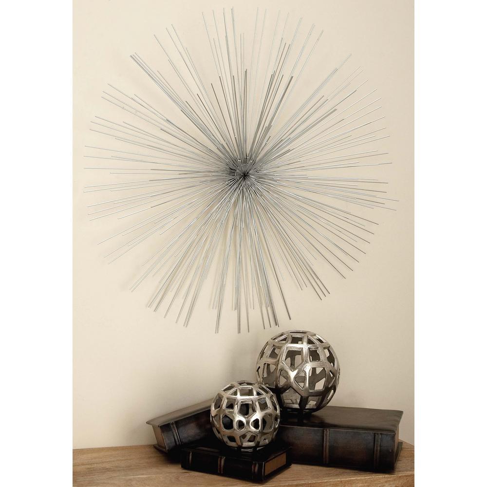 32 inch Modern Silver Iron Wire Starburst Wall Decor by