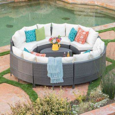 Gray 10-Piece Wicker Outdoor Sectional and Table Set with White Cushions