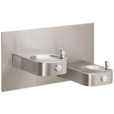Slimline Soft Sides Heavy Duty Bi-Level Wall Mounted Drinking Fountain in Stainless Steel