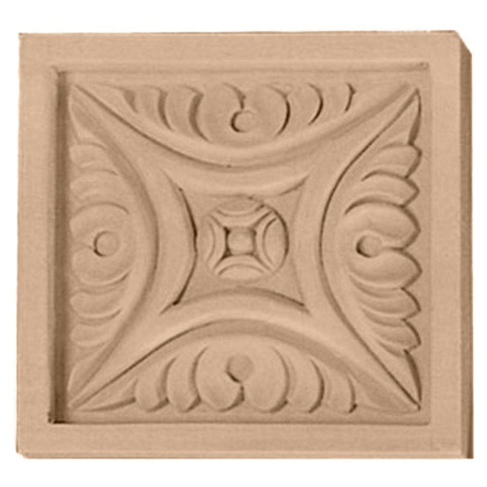 Ekena Millwork 5-1/8 in. x 7/8 in. x 5-1/8 in. Unfinished Wood Maple Large Middlesbrough Rosette