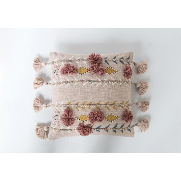 Pink Embroidered and Appliqued 20 in. x 20 in. Throw Pillow