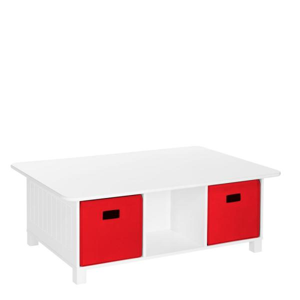 RiverRidge Home Kids White 6-Cubby Storage Activity Table with 2-Piece Red