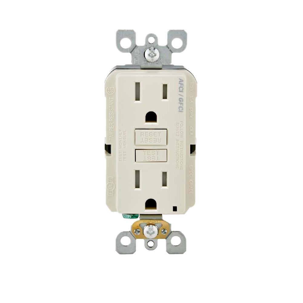 Leviton 15 amp 125 volt afci gfci dual function outlet for Bathroom 15 or 20 amp