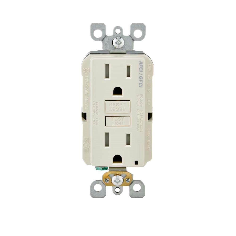 15 Amp 125-Volt AFCI/GFCI Dual Function Outlet, Light Almond