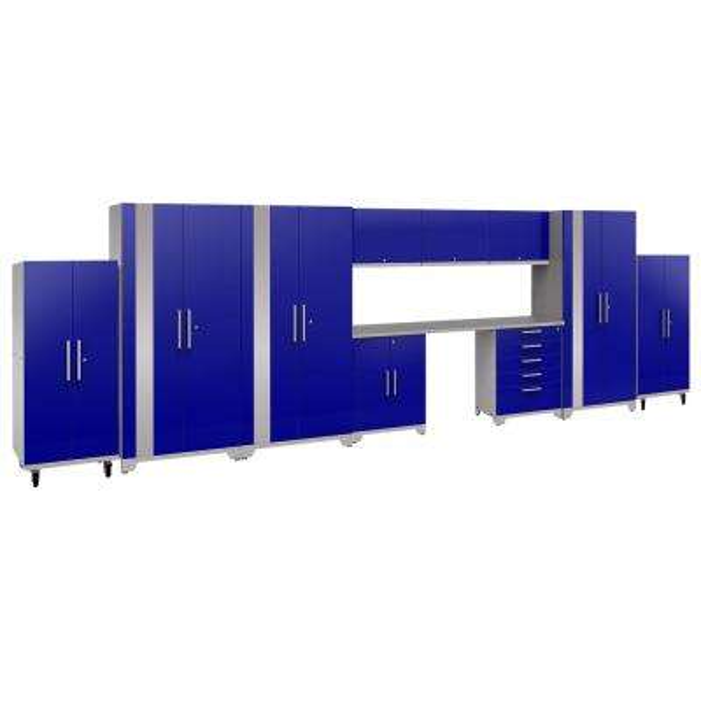 Performance Plus 2.0 80 in. H x 24 in. D8 in. W x 24 in. D Steel Garage Cabinet Set in Blue (11-Piece)
