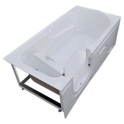 HD Series 60 in. Left Drain Step-In Walk-In Soaking Bath Tub with Low Entry Threshold in White