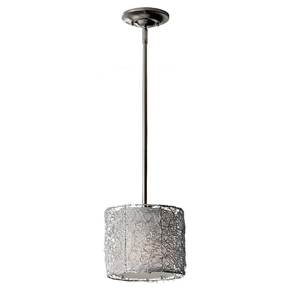 Feiss Wired 1-Light Brushed Steel Mini Pendant