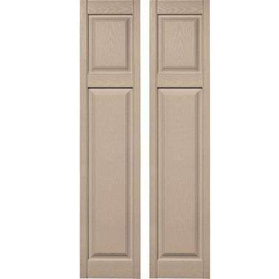 15 in. x 67 in. Cottage Style Raised Panel Vinyl Exterior Shutters Pair #023 Wicker