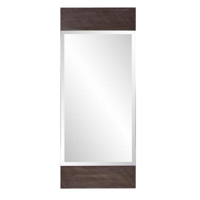 Large Rectangle Brown Beveled Glass Modern Accent Mirror (48 in. H x 20 in. W)