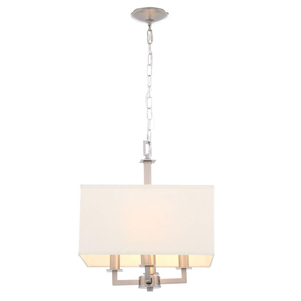 Hampton Bay Menlo Park 4-Light Brushed Nickel Pendant