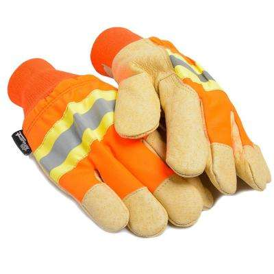 Men's XL Lined High Visibility Leather Palm Gloves