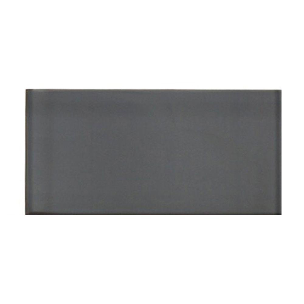 Splashback Tile Contempo Smoke Gray Polished Glass Mosaic Floor and Wall Tile - 3 in. x 6 in. x 8 mm Tile Sample
