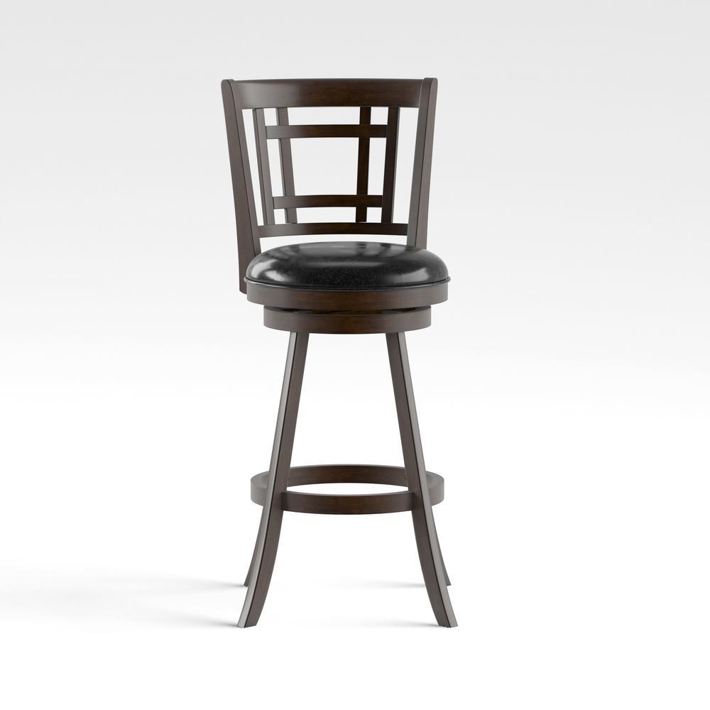 Furniture of America Adilah 30 in. Brown Cherry Cushioned Swivel Bar