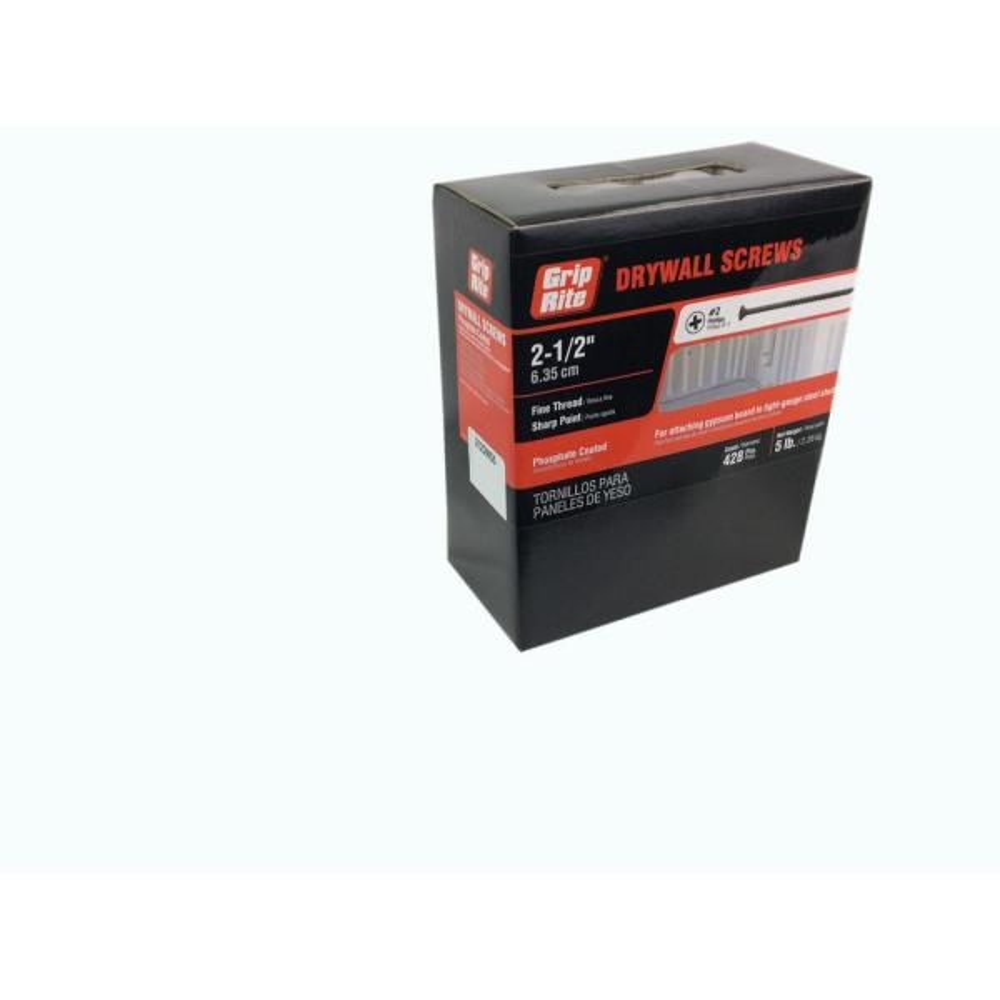 5000 #6 X 1-5//8 Drywall Screw Phillips Bugle Head Fine Thread Black Phosphate Bulk Box