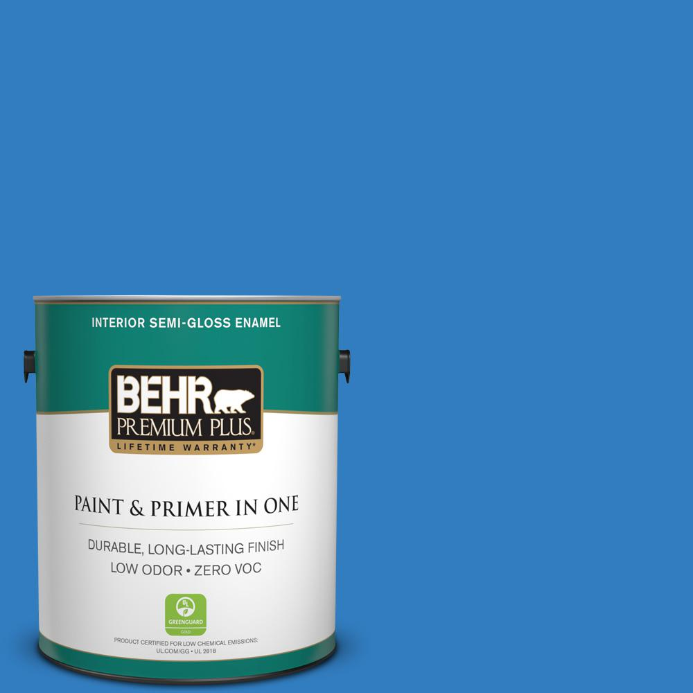 BEHR Premium Plus 1-gal. #P510-6 Brilliant Blue Semi-Gloss Enamel Interior Paint