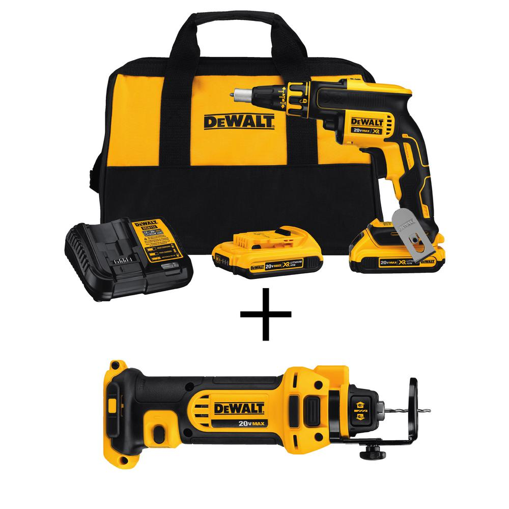 DEWALT 20-Volt MAX XR Lithium-Ion Cordless Brushless Drywall Screw Gun Kit w/ Batteries, Charger and Bonus Drywall Cut-Out Tool