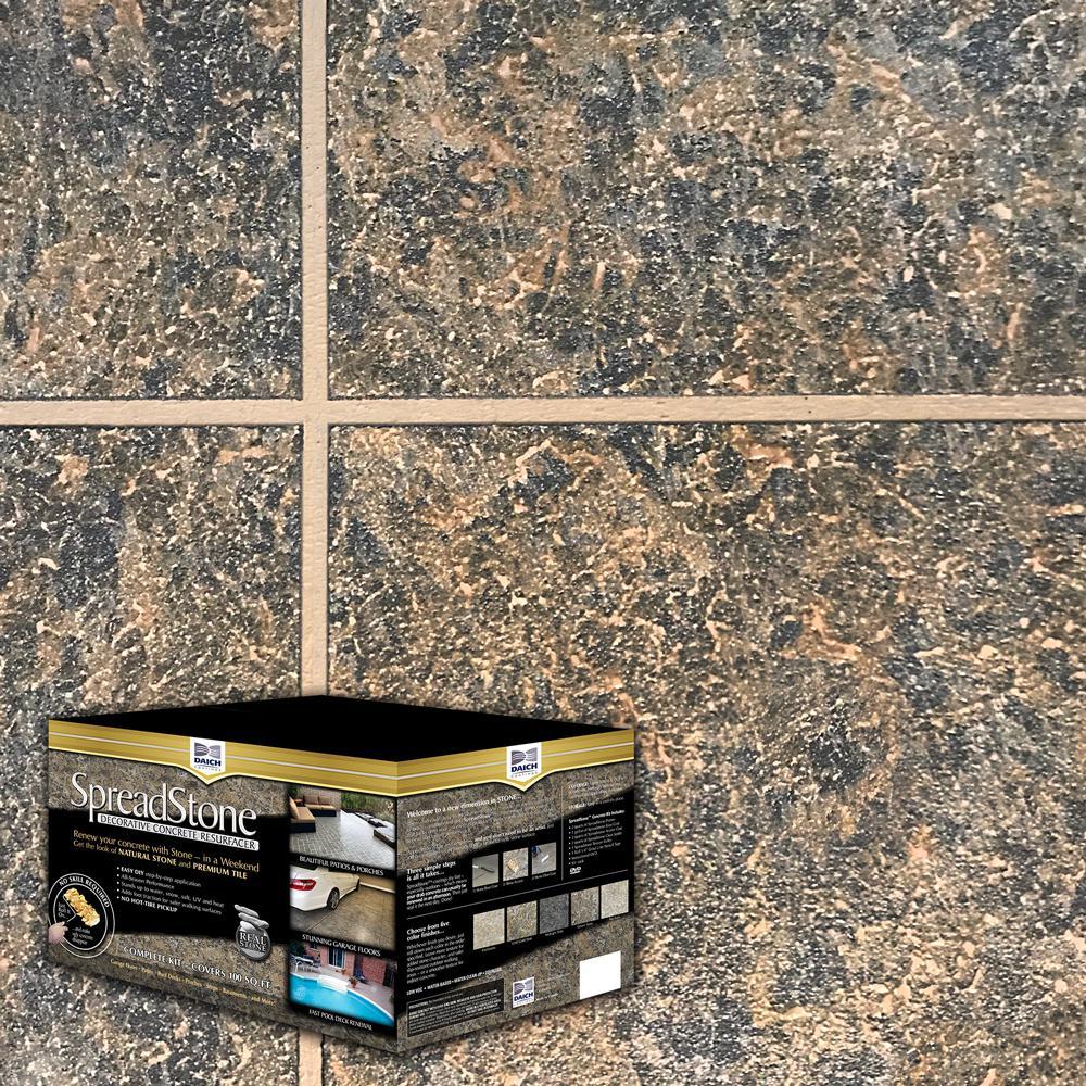 DAICH SpreadStone SpreadStone 10 Gal. Cold Gold Slate Satin Interior/Exterior 400 sq.ft. Decorative Concrete Resurfacing Kit