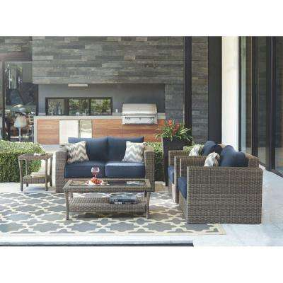 Beau Naples Grey 4 Piece All Weather Wicker Patio Deep Seating Set With Navy  Cushions