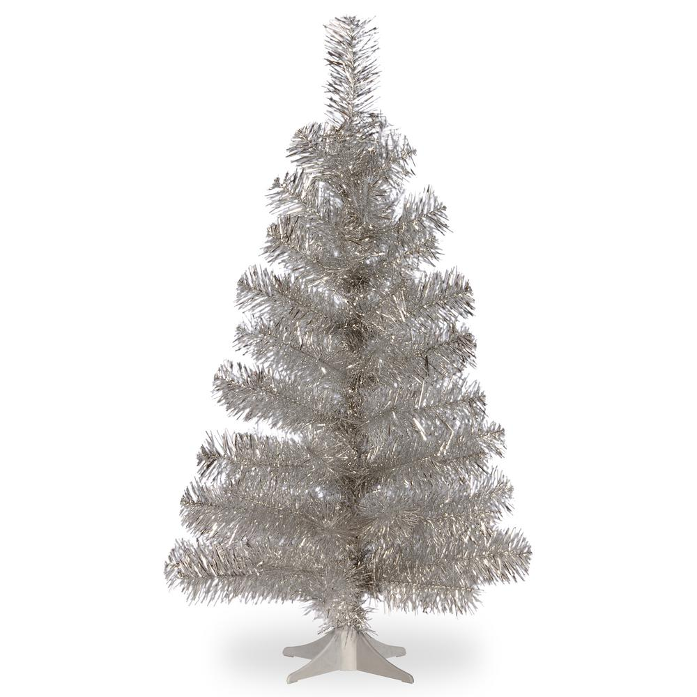 3ft Christmas Trees Artificial: National Tree Company 3 Ft. Silver Tinsel Artificial