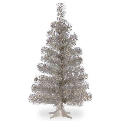 3 ft. Silver Tinsel Artificial Christmas Tree