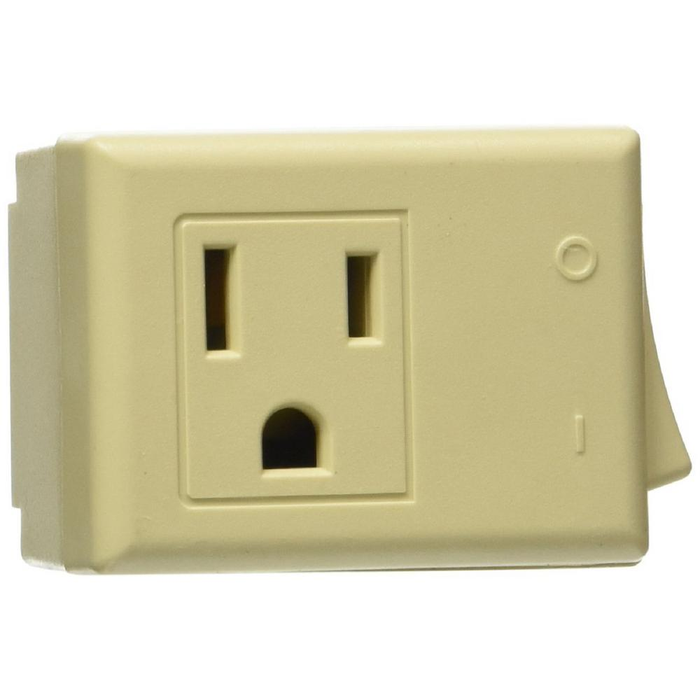 Leviton 1 Outlet 15 Amp Grounded Plug In Switch Tap With Onoff