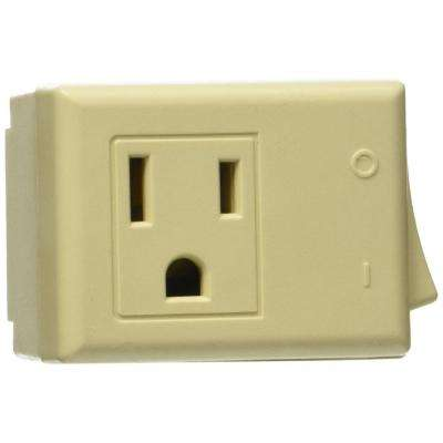 1-Outlet 15 Amp Grounded Plug-In Switch Tap with On/Off Switch, Ivory