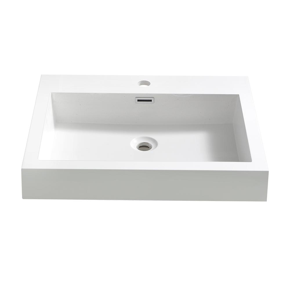 Alto 23 in. Drop-In Acrylic Bathroom Sink in White with Integrated
