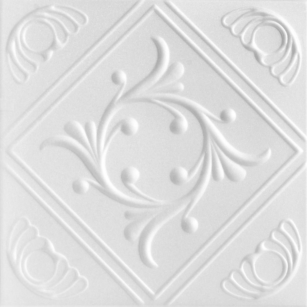 Diamond Wreath 1.6 ft. x 1.6 ft. Glue Up Foam Ceiling Tile in Plain White (21.6 sq. ft./case)