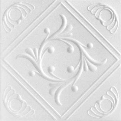 Diamond Wreath 1.6 ft. x 1.6 ft. Foam Glue-up Ceiling Tile in Plain White (21.6 sq. ft. / case)