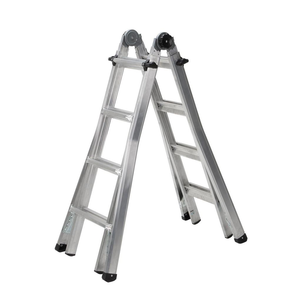 Cosco 17 ft. Reach Aluminum Telescoping Multi-Position Ladder with ...