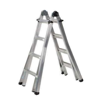 17 ft. Reach Aluminum Telescoping Multi-Position Ladder with 300 lb. Load Capacity Type IA Duty Rating
