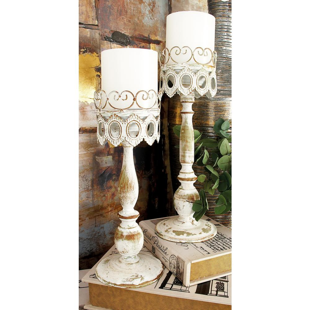 14 in. Distressed Ivory Iron Pillar Candle Holders with Filigree-Patterned Cups